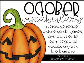 October Vocabulary {Vocabulary Cards, Mini-Reader, Activities}