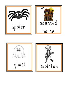 October Vocabulary Word Cards