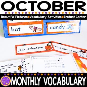 October Vocabulary Words (Halloween, Pumpkin, Leaves, Spider)