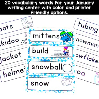 January Vocabulary Words (snow, friends, Dr. Martin Luther King)