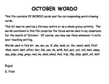 October WORDO