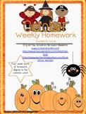 October Weekly Homework Common Core