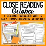 October Close Reading - Halloween Reading Passages with Comprehension