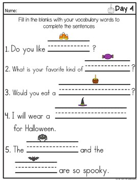 October Daily Weekly Thematic Vocabulary Word Work
