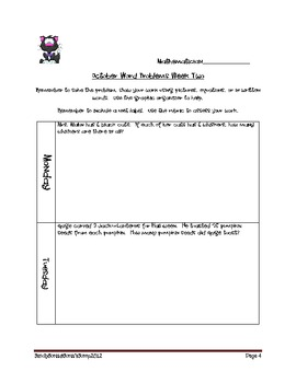October Weekly Word Problems for Third Grade