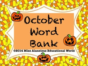 October Word Bank for Successful Writing and Writer's Notebook!