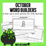 October Word Builders Work Work Activity