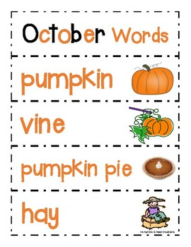 October Word Cards