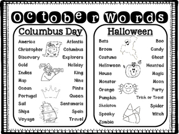 October Word List