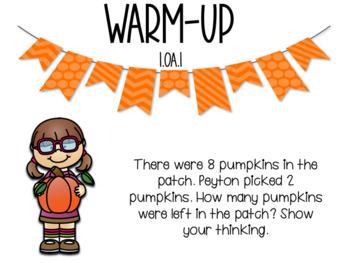 October Word Problem Warm-Ups & Printables 1.OA.1