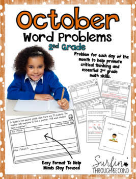 October Word Problems  for 2nd Grade Math Common Core Aligned