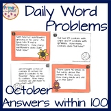 October Word Problems within 100- Fall themes
