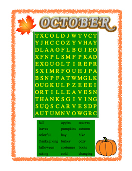 October Word Search