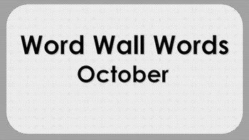 October Word Wall Words