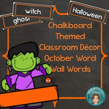October Word Wall Words (Chalkboard Labels Decor Add On)