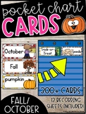 October Word Wall Words - Fall, Fire Safety, and Halloween Pocket Chart Cards