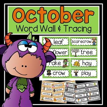 Word Wall and Tracing: October (Fall, handwriting, vocabulary)