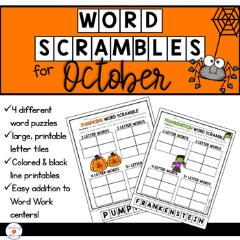 October Word Work: Word Scramble Puzzles