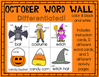 October Word Work/Write the Room Bundle (differentiated)