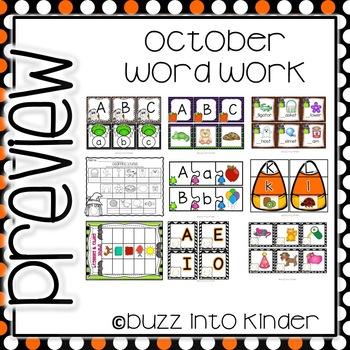 October Word Work for Kindergarten