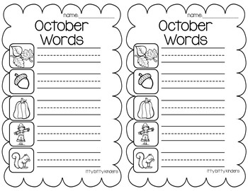 October Vocabulary Words
