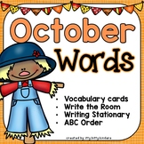 October Words - Vocabulary Cards