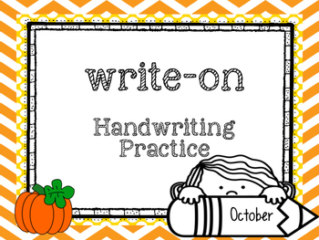 October Write-On (  Handwriting practice for 1st grade)