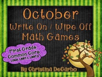 October Write On Wipe Off Math Centers and Games! {Common