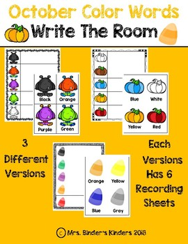 October Color Words - Write The Room