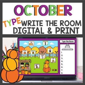 October Write the Room & Sentence Building Activities