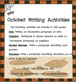 October Writing Activities for Common Core