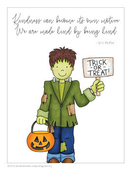 October Writing Activity | Thankful for Kindness Writing | Halloween Writing