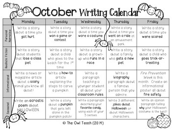 Writing Calendar: 20 Writing Prompts for the Month of October!