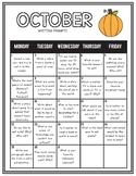 October Writing Calendar