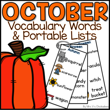 October Writing Center: Bulletin Board Vocabulary Words & Word Rings