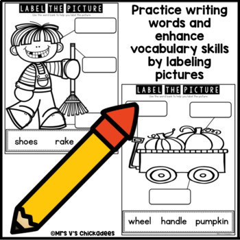 October Writing Center: Labeling Pictures Using a Word Bank