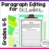 October Writing: Daily Paragraph Editing Worksheets