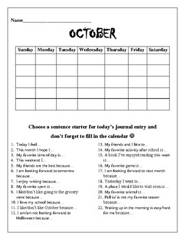 October Writing Journal and Cover Page- blank calendar and sentence starters :)