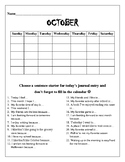 October Writing Journal and Cover Page- blank calendar and