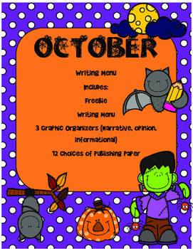 October Writing Menu with Graphic Organizers and Paper. Freebie Included!