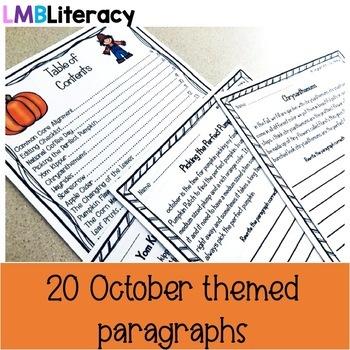 October Writing-Paragraph Editing Worksheets for Grades 4-5