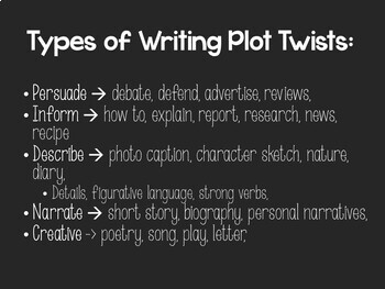 October Writing - Plot Twists! Writing Prompts to the EXTREME!