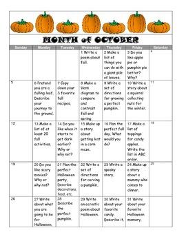October Writing Prompt Calendar