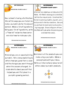October Writing Prompt Task Cards