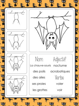 October Writing Prompts FRENCH Halloween and Directed Drawings