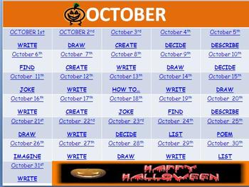 October Writing Prompts (Interactive Halloween Theme)