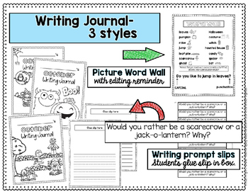 October Writing: Prompts, Journal, & Calendar