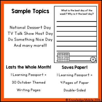 October Writing Prompts - Learning Passport