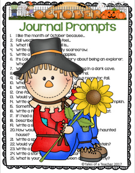 October Writing Prompts and Themed Journal Pages