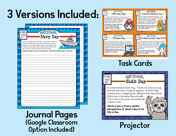 October Writing Prompts for National Holidays w/ Google Classroom Option